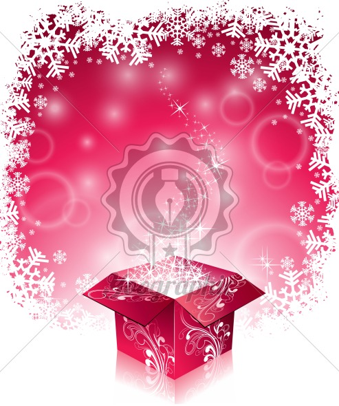 Vector Christmas illustration with typographic design and shiny magic gift box on snowflakes background. - Royalty Free Vector Illustration