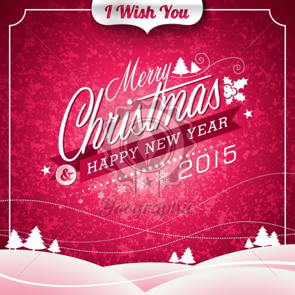 Vector Christmas illustration with typographic design on landscape background - Royalty Free Vector Illustration