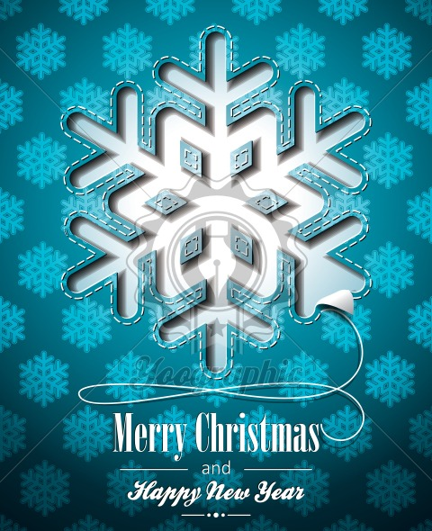 Vector Christmas illustration with snowflakes design on blue background. EPS 10 illustration. - Royalty Free Vector Illustration