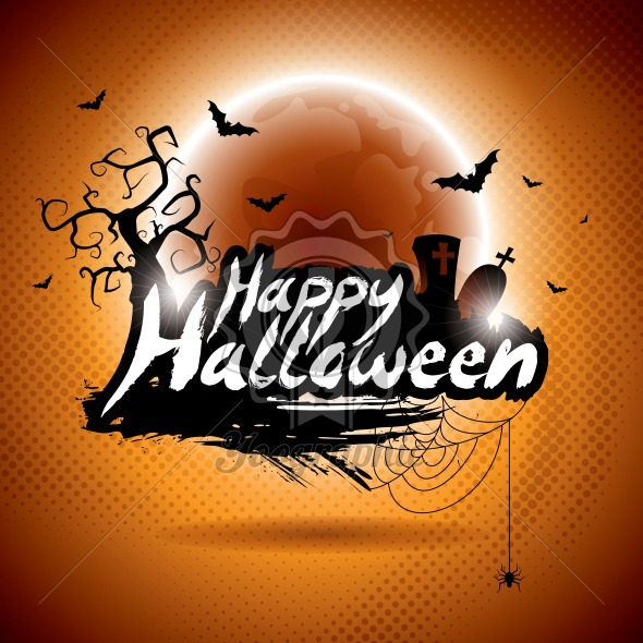 Vector illustration on a Happy Halloween theme on moon background. - Royalty Free Vector Illustration