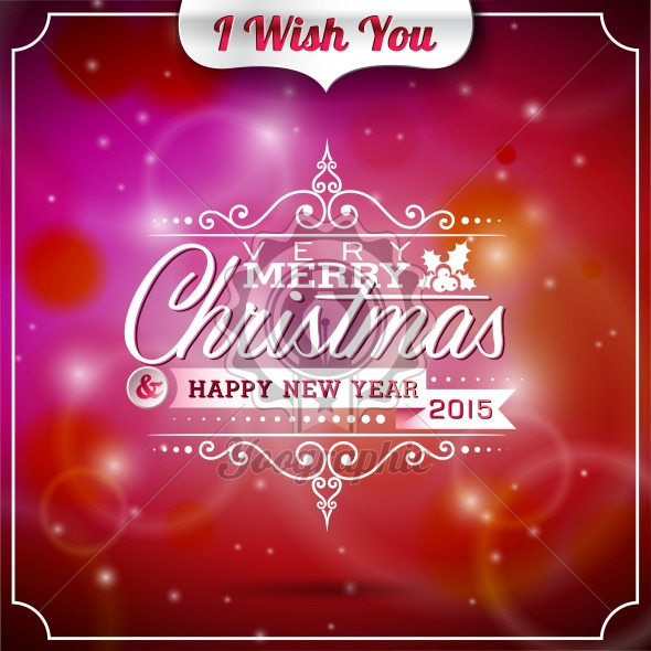 Vector Christmas illustration with typographic design on shiny background. - Royalty Free Vector Illustration