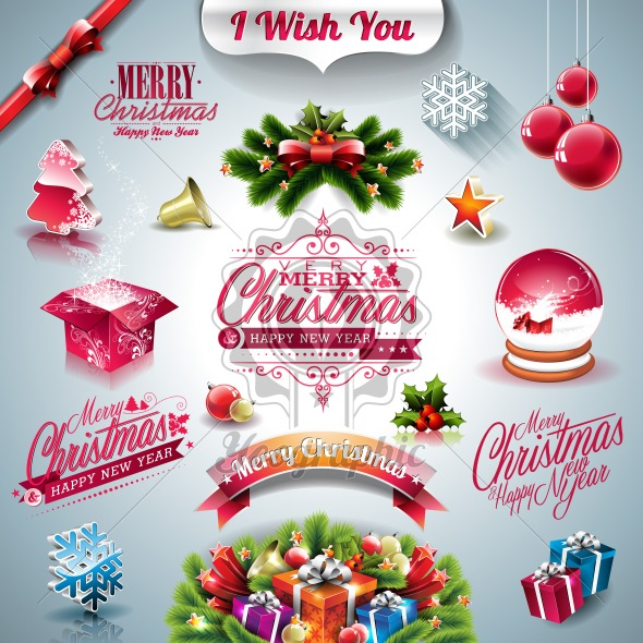 Vector Holiday collection for a Christmas theme with 3d elements on clear background. - Royalty Free Vector Illustration