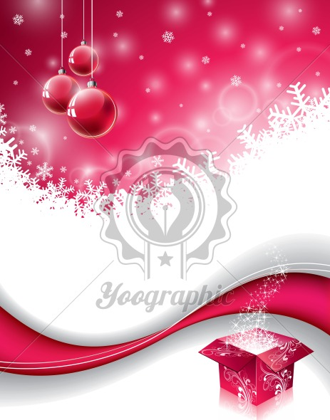 Vector Christmas design with magic gift box and red glass ball on snowflakes background. - Royalty Free Vector Illustration
