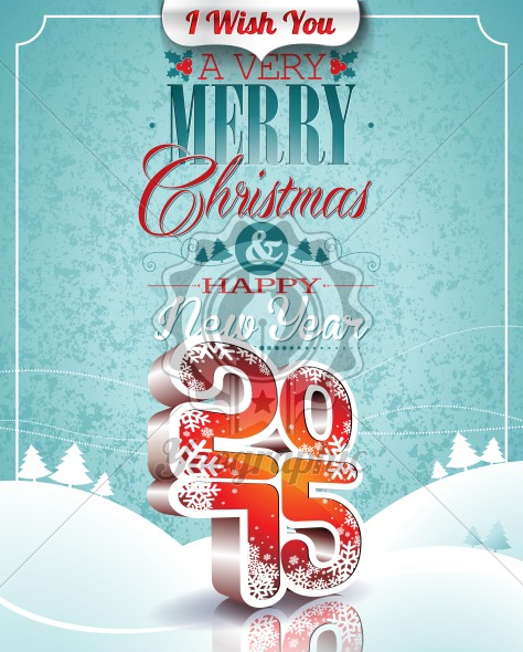Vector Christmas illustration with typographic design on snowflakes background. - Royalty Free Vector Illustration
