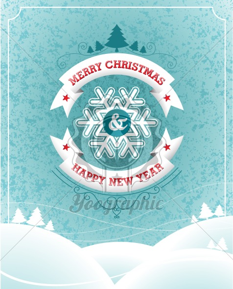 Vector Christmas illustration with typographic design and ribbon on landscape background. - Royalty Free Vector Illustration
