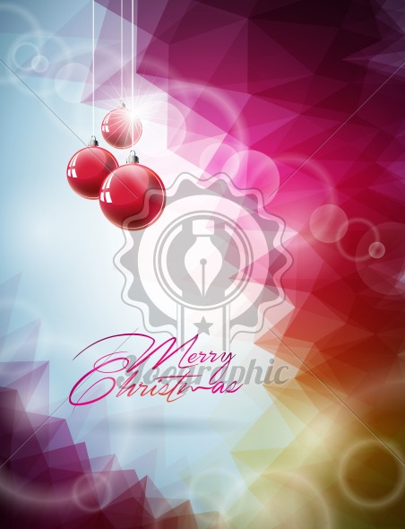Vector Christmas illustration with red glass ball on abstract geometric background - Royalty Free Vector Illustration