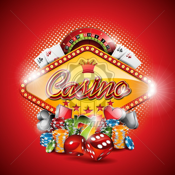 Vector illustration on a casino theme with gambling elements on red background. EPS 10 design - Royalty Free Vector Illustration