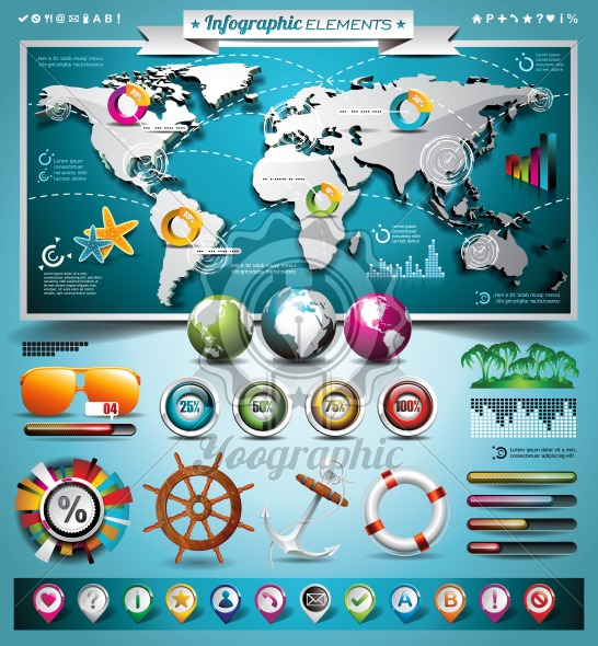 Vector summer travel infographic set with world map and vacation elements. EPS 10 illustration. - Royalty Free Vector Illustration