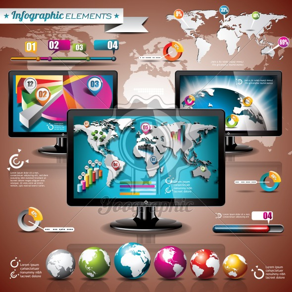 Vector technology design set of infographic elements - Royalty Free Vector Illustration