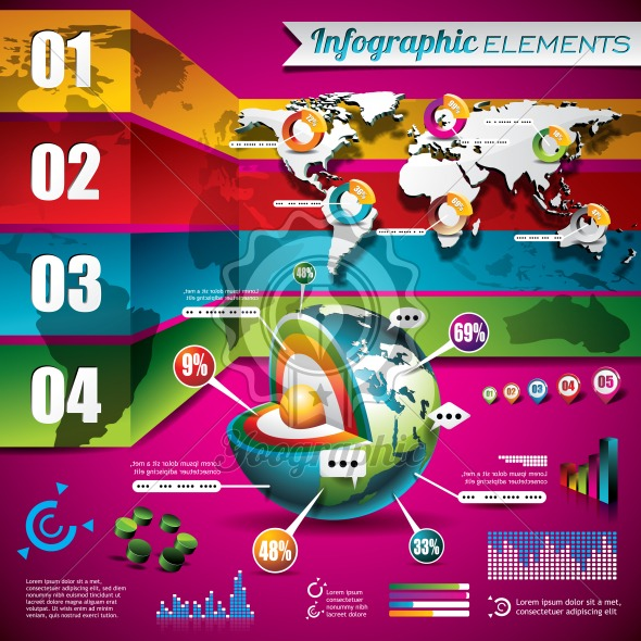 Vector technology design set of infographic elements. World map and information graphics - Royalty Free Vector Illustration