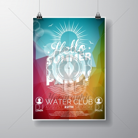 Vector Party Flyer poster template on Summer Beach theme with abstract shiny background. - Royalty Free Vector Illustration