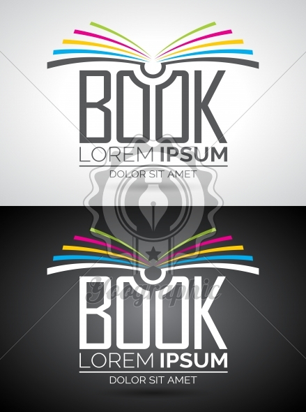Vector book logo illustration. Icon template for education or company. Eps 10 graphic. - Royalty Free Vector Illustration