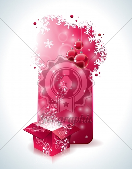Vector Christmas design with magic gift box and red glass ball on clear background. - Royalty Free Vector Illustration