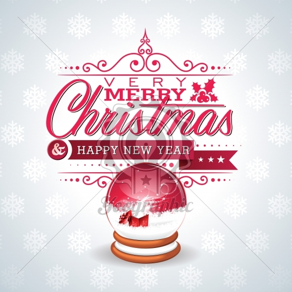 Vector Christmas illustration with magic snow globe and typographic design on snowflakes background. - Royalty Free Vector Illustration