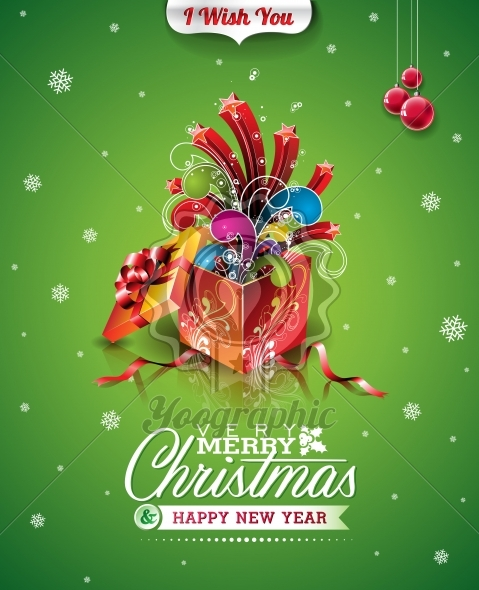 Vector Christmas illustration with typographic design and magic gift box on green background - Royalty Free Vector Illustration