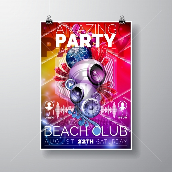 Vector Amazing Party Flyer Design with speakers on color background. - Royalty Free Vector Illustration