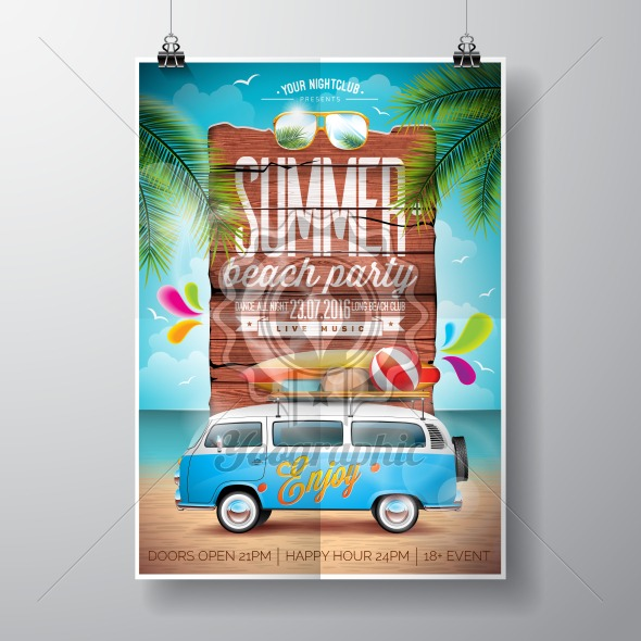 Vector Summer Beach Party Flyer Design With Travel Van And Surf Board On Ocean Landscape Background Typographic Vintage Wood
