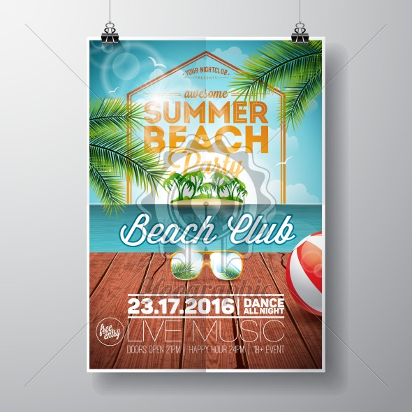 Vector Summer Beach Party Flyer Design With Sunglasses On Ocean Landscape Background Typographic Vintage Wood