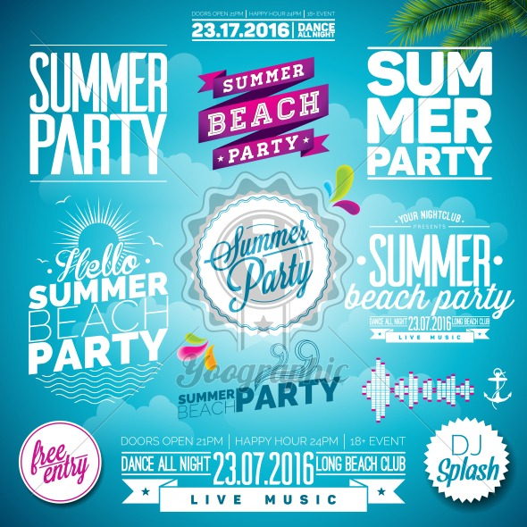 Vector Summer Beach Party Typography Illustration set with signs and symbols on blue background. Icon collection for clubs and night club - Royalty Free Vector Illustration