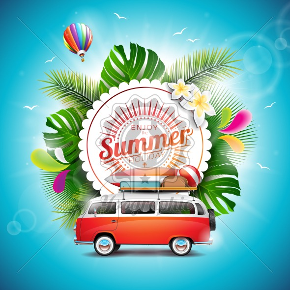 Vector Enjoy The Summer Holiday Typographic Illustration On White Badge And Floral Background Tropical Plants Flower Travel Van Air Balloon