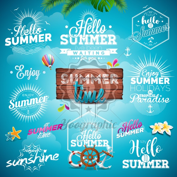 Vector Summer Typography Illustration Set With Signs And Symbols On