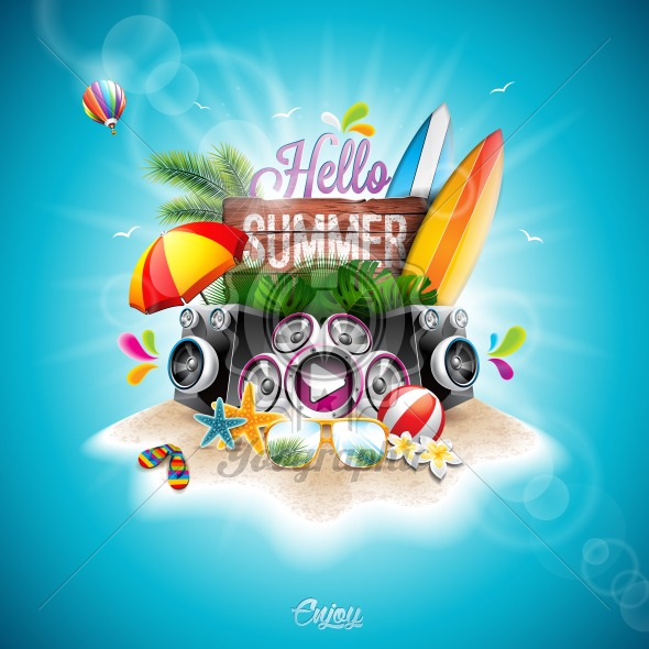 Vector Summer Time Holiday Typographic Illustrationwith