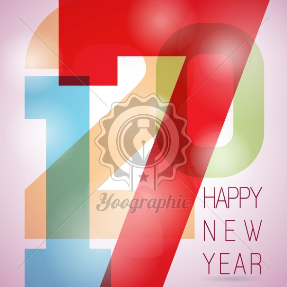 Graphic_158_03 Vector Happy New Year 2017 colorful celebration background with abstract number elements. - Royalty Free Vector Illustration