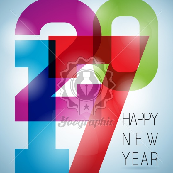 Graphic_158_02 Vector Happy New Year 2017 colorful celebration background with abstract number elements. - Royalty Free Vector Illustration