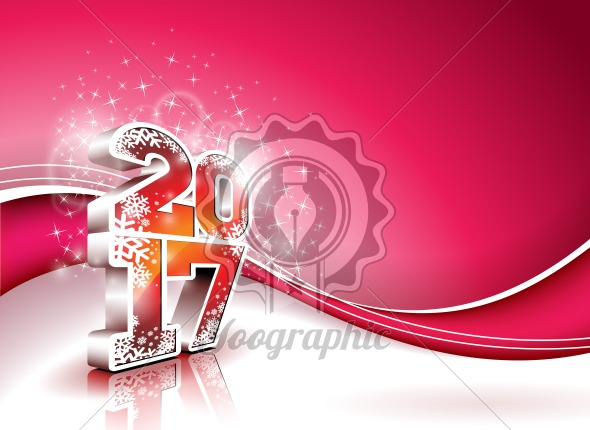 Graphic_158_01 Vector Happy New Year colorful celebration background with shiny 3d 2017 text. - Royalty Free Vector Illustration