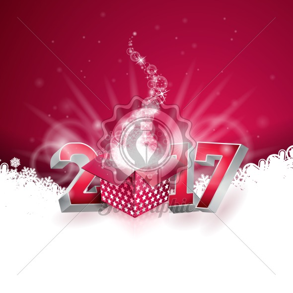 Graphic_158_05 Vector Happy New Year colorful celebration background with shiny 3d 2017 text and gift box. - Royalty Free Vector Illustration