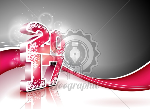 Graphic_158_06 Vector Happy New Year celebration background with shiny 3d 2017 text. - Royalty Free Vector Illustration