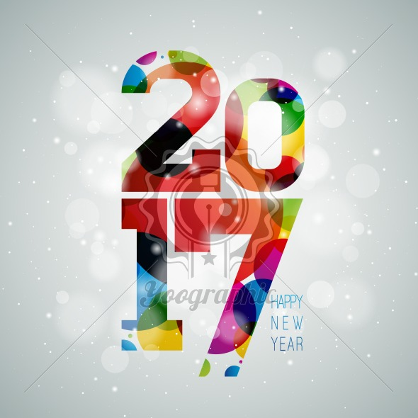 Graphic_158_11 Vector Happy New Year celebration illustration with shiny 2017 text on color bubble background. - Royalty Free Vector Illustration