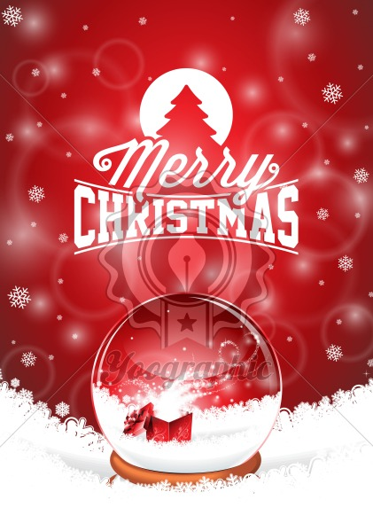 Graphic_156_christmas_13 Vector Merry Christmas Holiday illustration with typographic design and magic snow globe on snowflakes background. - Royalty Free Vector Illustration