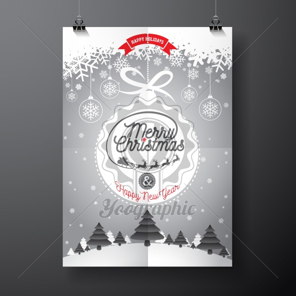Graphic_156_christmas_12 Vector Merry Christmas Holiday and Happy New Year illustration with typographic design and snowflakes on winter landscape background. - Royalty Free Vector Illustration