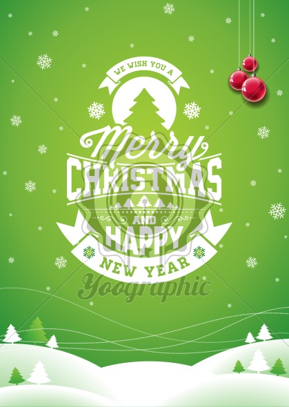 Graphic_156_christmas_19 Vector Merry Christmas Holiday and Happy New Year illustration with typographic design and snowflakes on winter landscape background. - Royalty Free Vector Illustration