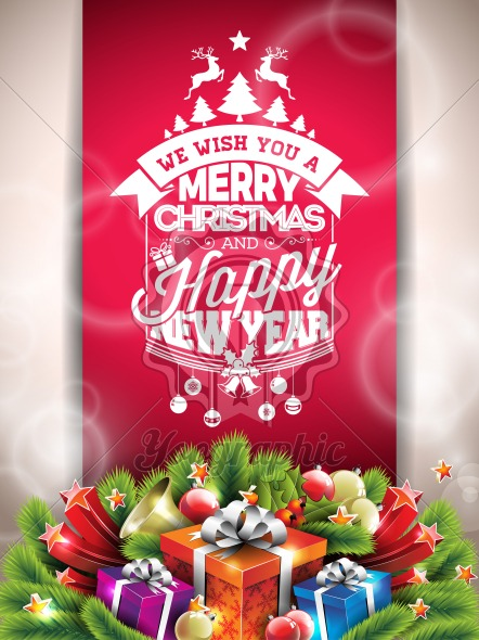Vector Merry Christmas Happy Holidays illustration with typographic design and gift box on red background. - Royalty Free Vector Illustration