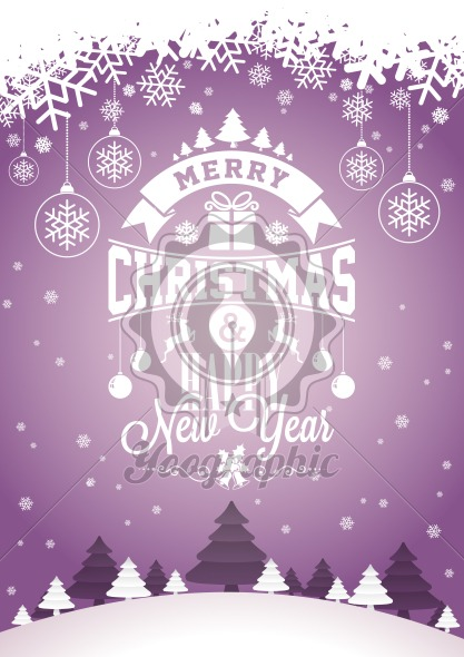 Graphic_156_christmas_18 Vector Merry Christmas Holiday and Happy New Year illustration with typographic design and snowflakes on winter landscape background. - Royalty Free Vector Illustration