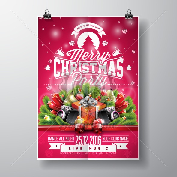 Graphic_157_christmasparty_15 Vector Merry Christmas Party design with holiday typography elements and speakers on shiny background. - Royalty Free Vector Illustration