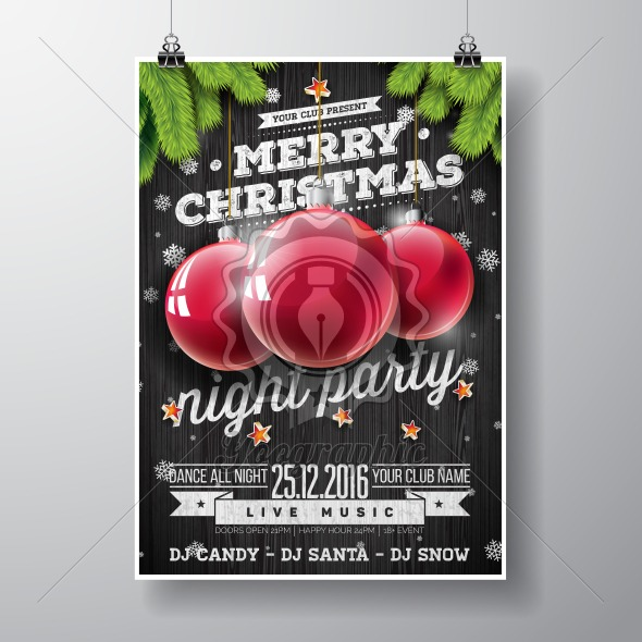Graphic_157_christmasparty_14 Vector Merry Christmas Party design with holiday typography elements and glass balls on vintage wood background. - Royalty Free Vector Illustration