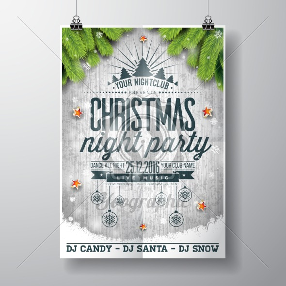 Graphic_157_christmasparty_13 Vector Merry Christmas Party design with holiday typography elements and shiny stars on vintage wood background. - Royalty Free Vector Illustration