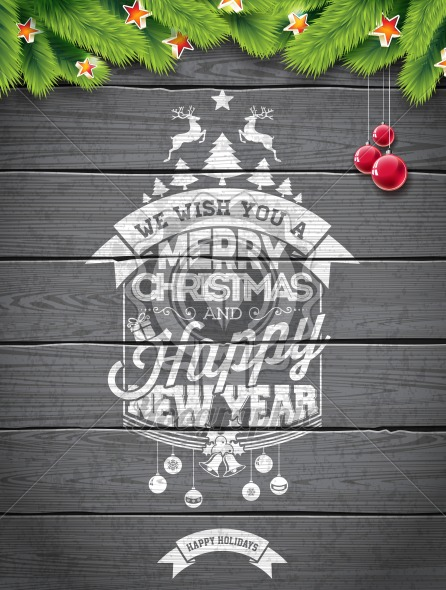 Vector Merry Christmas Holiday and Happy New Year illustration with typographic design and snowflakes on wintage wood background. - Royalty Free Vector Illustration