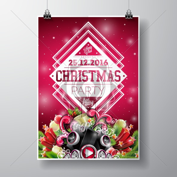 Graphic_157_christmasparty_23 Vector Merry Christmas Party design with holiday typography elements and speakers on shiny background. - Royalty Free Vector Illustration