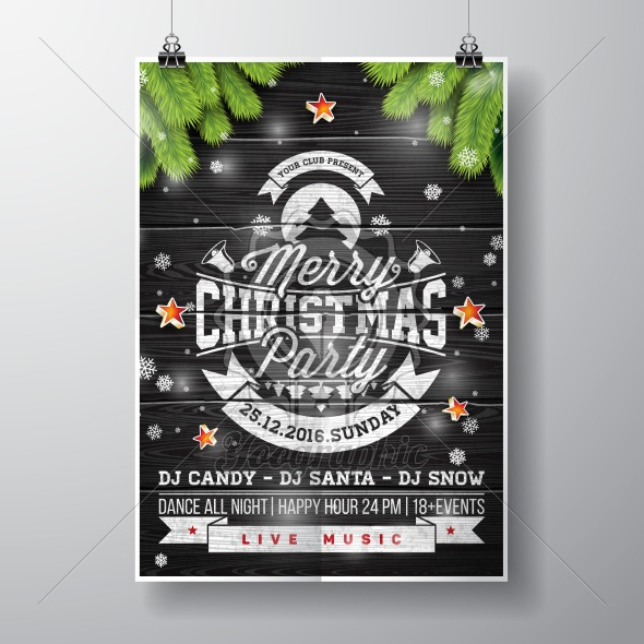 Graphic_157_christmasparty_22 Vector Merry Christmas Party design with holiday typography elements and shiny stars on vintage wood background. - Royalty Free Vector Illustration