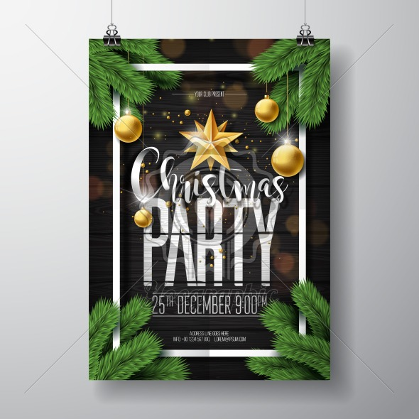 Vector Merry Christmas Party Design with Holiday Typography Elements and Ornamental Balls on Vintage Wood Background. Celebration Fliyer Illustration. EPS 10. - Royalty Free Vector Illustration