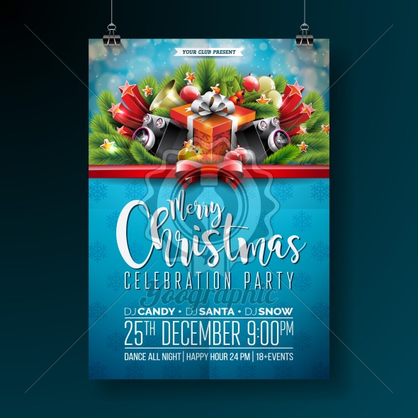 Vector Merry Christmas Party design with holiday typography elements and speakers on shiny background. Celebration Fliyer Illustration. EPS 10. - Royalty Free Vector Illustration