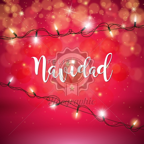 Vector Christmas Illustration with Spanish Feliz Navidad Typography and Holiday Light Garland on Shiny Red Background. - Royalty Free Vector Illustration