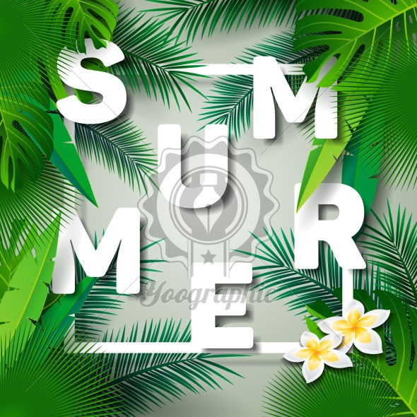 Graphic_150_51_summer Vector Summer Time Holiday typographic illustration on palm leaves background. Tropical plants and flowers. - Royalty Free Vector Illustration