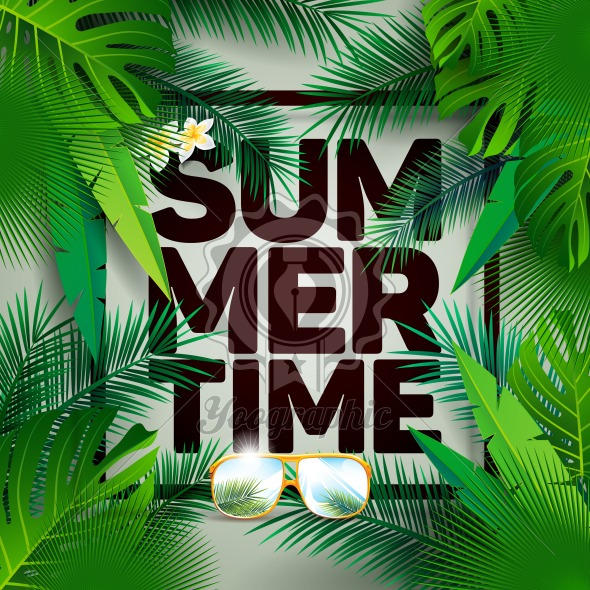 Graphic_150_52_summer Vector Summer Time Holiday typographic illustration on palm leaves background. Tropical plants and flowers. - Royalty Free Vector Illustration