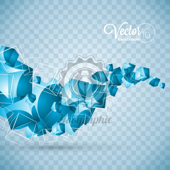 Graphic 149 Background 49 Abstract Vector Blue Waves Cubes
