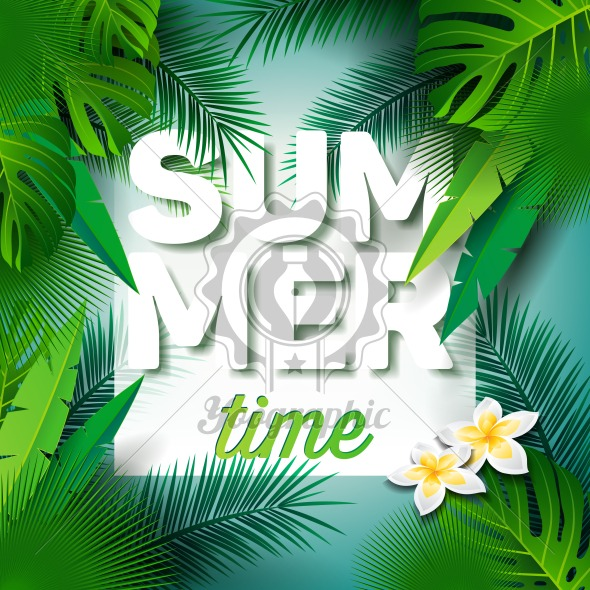 Graphic_150_49_summer Vector Summer Time Holiday typographic illustration on palm leaves background. Tropical plants and flowers. - Royalty Free Vector Illustration